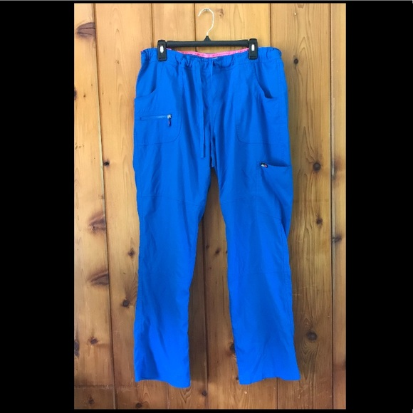 cdf41822035 koi Pants - Koi Lite Royal Blue Peace Scrub Bottoms Pants - Lg